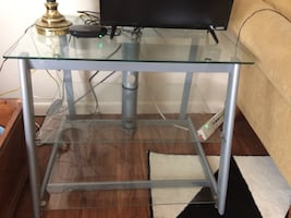 Rectangular glass gray metal frame table;vizio flat screen tv