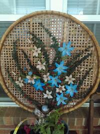 brown and blue floral textile