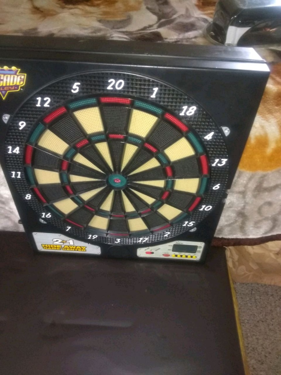 Photo 2 in one electronic game dart board in basketball