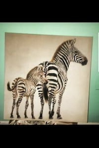 Zebra wall art piece on canvas