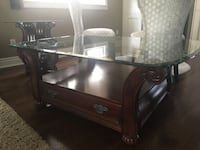 brown wooden framed glass-top coffee table Vaughan, L4L