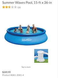 Summer wave pool with cover and filter. used once. Need to sell ASAP  Vaughan, L4H 0M2