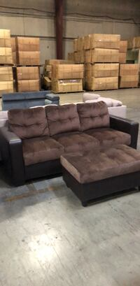 brown suede sectional couch and ottoman West Sacramento, 95691