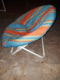and green floral moon chair