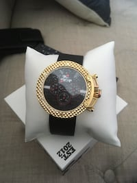 round gold-colored chronograph watch with black strap Rockville, 20852