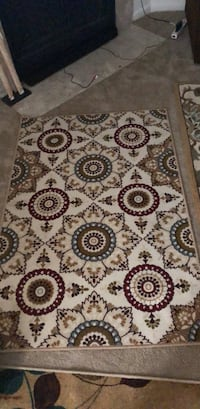 brown and white floral area rug Hampton, 23666