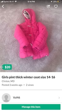 Girls Thick Winter coat Size 14/16 Clinton, 20735