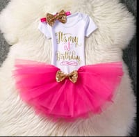 Hot pink first birthday tutu outfits set El Monte, 91731
