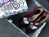 pair of red leather pointed-toe heeled shoes Ottawa, K2P