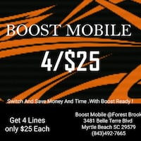 4 lines for $25.00 each Myrtle Beach, 29579