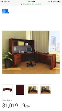 brown wooden desk with hutch Langley, V1M