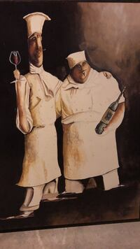 two chef holding bottle and wine glass painting Clarkson Valley, 63017
