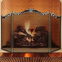 Large Floral Fireplace Screen 3 Panel Bronze Wrought Iron Metal Decorative Mesh Fire Place Standing Gate Solid Baby Safe Proof Fence Steel Spark Guard Cover Outdoor Fireplace Tools Accessories 31.1""