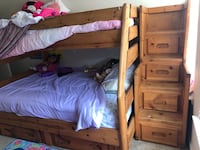 Kids Bunk Bed set. Top twin/ bottom full. Purchased in 2011 and is still in great condition minus some scratches/ crayon marks.