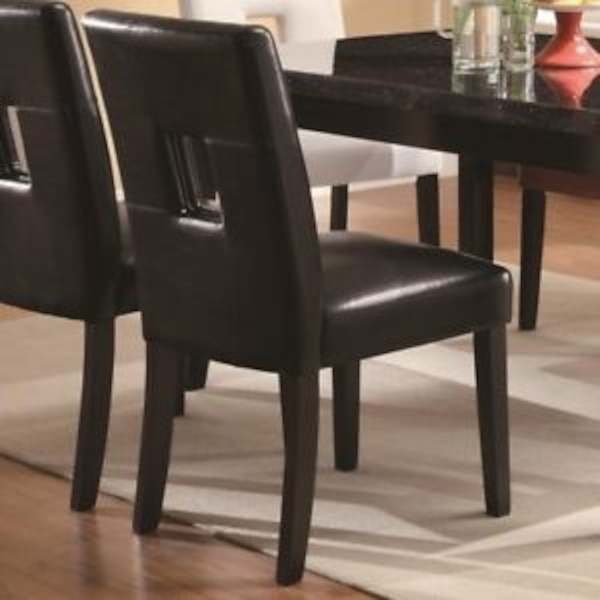 Set of two black dining room chairs