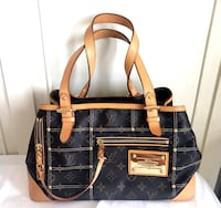 Black and brown louis vuitton leather purse