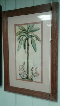 Banana tree painting with brown frame