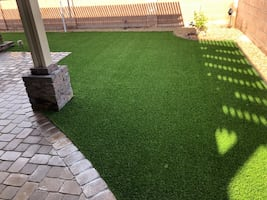 Installed Artificial Grass and Pavers