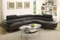 Modern Style espresso Leather Sectional Sofa  Ontario