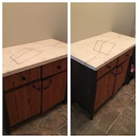 Handcrafted cabinet wood and cement top Edmonton, T6W 2C7