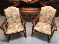 two brown wooden framed white floral padded armchairs Damascus
