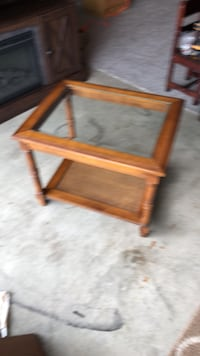 square brown wooden framed glass top coffee table Indianapolis, 46221