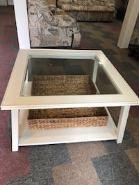 White Wooden Coffee Table with Glass Top and Woven Basket Netcong, 07857