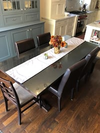 Cross Leg Wood Dining Table & Leather Parson Chairs. Toronto, M9B 4X8