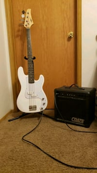 Bass Guitar With Amp and Stand