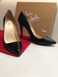 Pair of black leather platform stilettos by Christian Louboutin. Size 40,5  Toronto, M2J 1L2