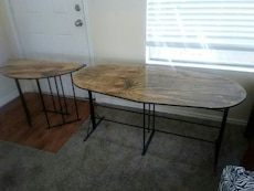 two black base wooden tables