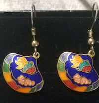UNIQUE Cloisonnee Colorful EARRINGS w/ a FISH Hopewell Junction, 12533