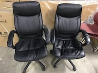 twoblack leather padded office rolling armchairs Midland, 22728