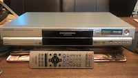 gray Panasonic DVD recorder/player with remote
