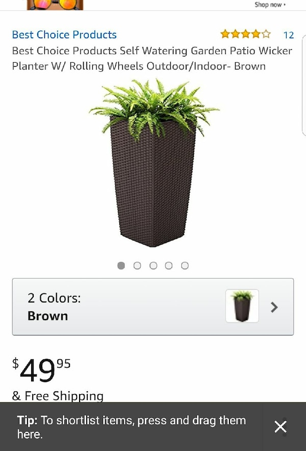 Used Best Choice Products Self Watering Garden Patio Wicker Planter