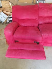 Used red microfiber sofa with dual recliners Bear