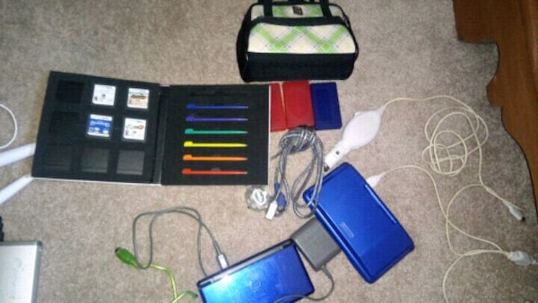 3 ds' games and pens and chargers.
