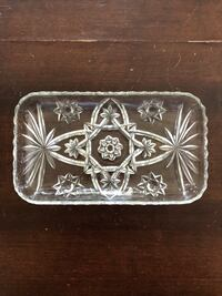 Vintage etched glass dish