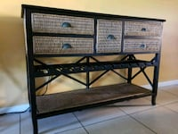 black metal framed brown wooden bench Miami, 33172
