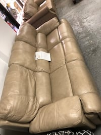 Beige Leather Power Reclining Sofa