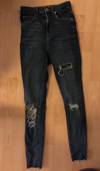 Blue Denim Distressed Jeans Skjermbilde
