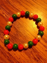 green, red and yellow beaded bracelets