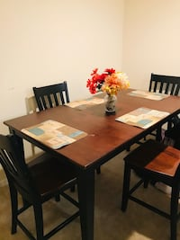 Rectangular brown wooden table with four chairs dining set 59 km
