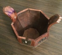 Excellent Condition Vintage Look Wooden Bucket with Lock
