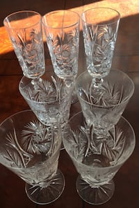 Wine and champagne crystal glasses.