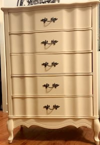 """Antique French Provincial 5 drawer Dresser Chest (Tall Boy)  H   47-7/8"""" W  33-1/2"""" D   17-1/8"""" Charlotte, 28203"""