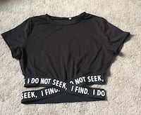 """Black crop top size small wrap around band """" I DO NOT SEEK, I FIND"""" Edmonton, T6T 1A4"""