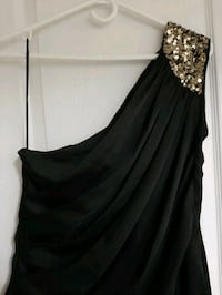 Sexy, silky black, draped, one shoulder sequined dress - Size M