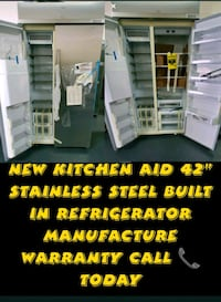 "New kitchen aid 42"" stainless steel built in refrigerator manufacture"