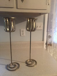 two stainless steel candle holders HUNTSVILLE